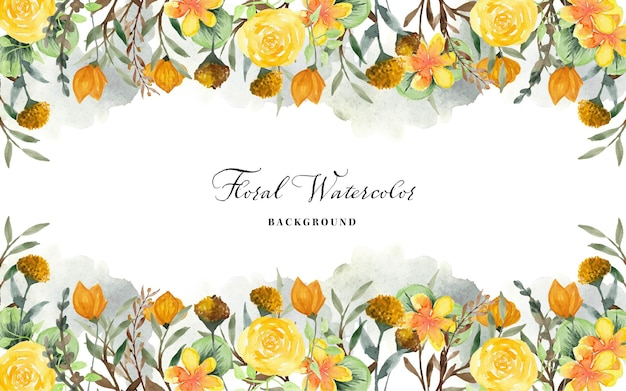 Floral watercolor background with yellow wild flowers