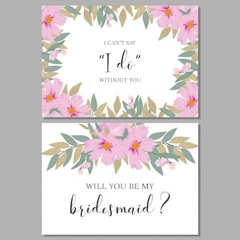 Floral watercolor bridesmaid greeting card template