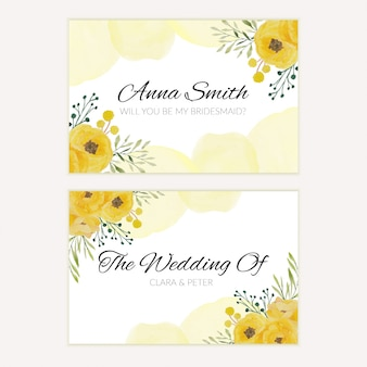 Floral watercolor bridesmaid greeting card in yellow color