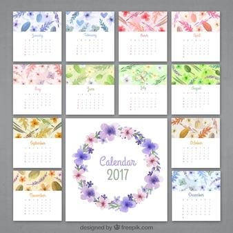 Floral watercolor calendar of 2017