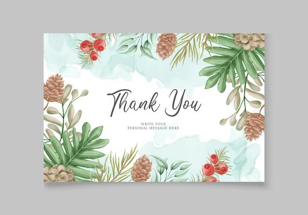 꽃 수채화 크리스마스 인사말 카드