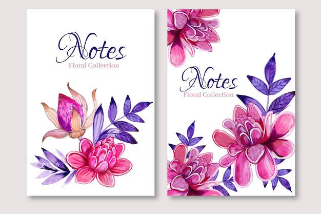 Floral watercolor design of notes template
