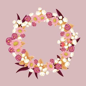 花の花輪の花の水彩デザイン