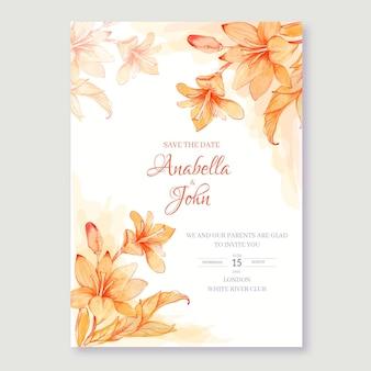 Disegno floreale ad acquerello di invito a nozze