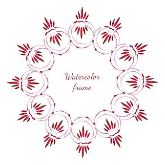 꽃 수채화 꽃 프레임입니다. 벡터 프레임 수채화 그리기. 초대장, 배너, 플래이어, 결혼식 또는 인사 장을위한 디자인