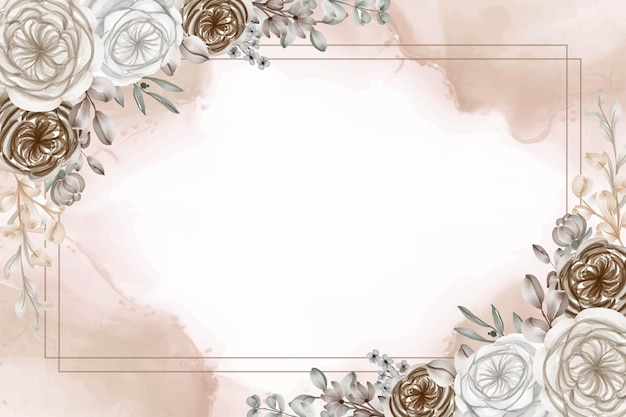 Floral watercolor frame background with brown caramel flower