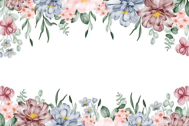 ピンクブルーとバーガンディの花と花の水彩フレームの背景