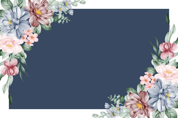 Цветочная акварель фон рамки с розовым синим и бордовым цветком