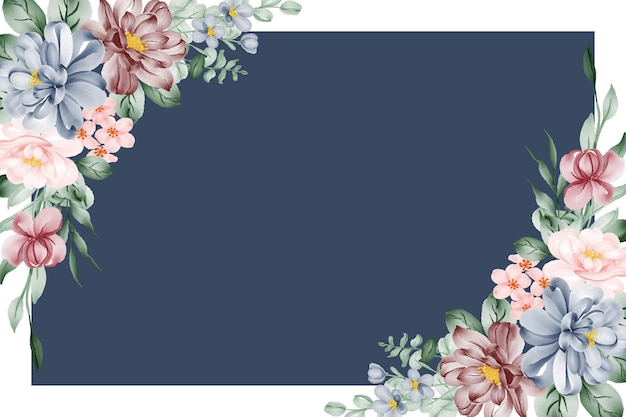 Floral watercolor frame background with pink blue and burgundy flower