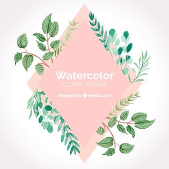 Floral watercolor frame concept