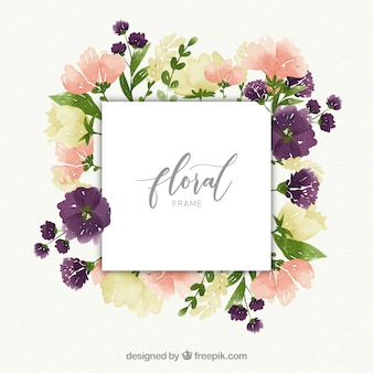 Floral watercolor frame concept