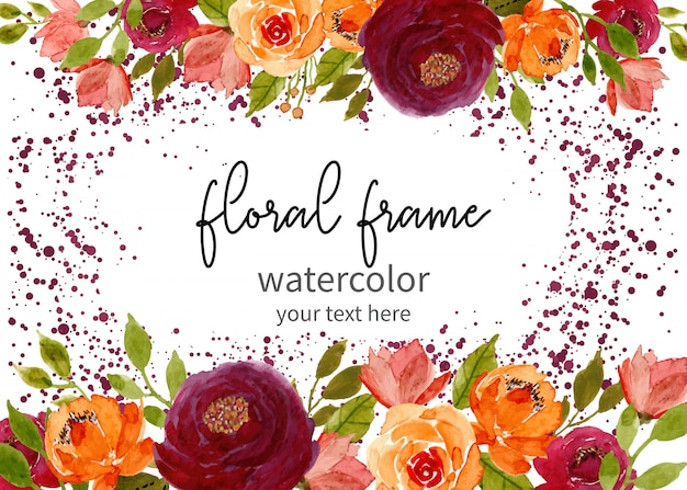Floral watercolor frame with dots background