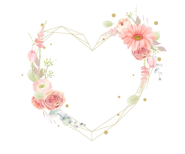 Floral watercolor frame with heart shape