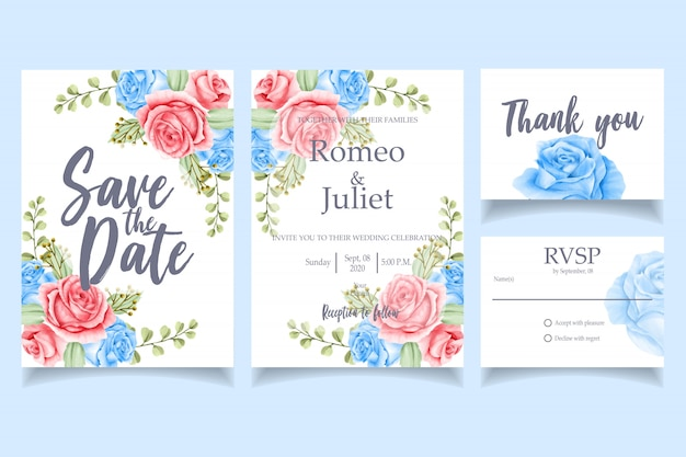 Floral watercolor invitation wedding party card template
