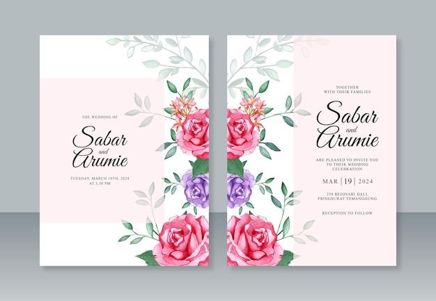 아름다운 청첩장 템플릿을 위한 꽃 수채화 그림