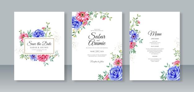 웨딩 카드 초대장 세트 템플릿 꽃 수채화 그림