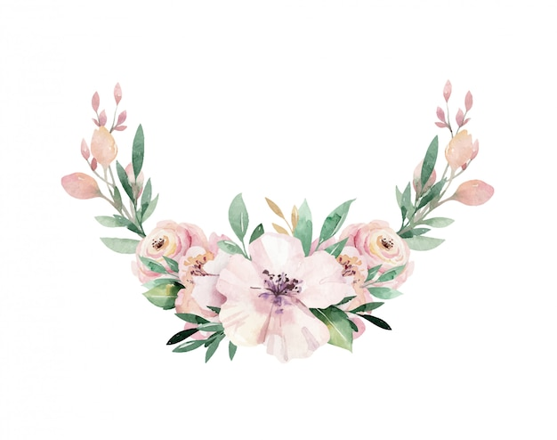 Floral watercolor peony flower wreath with tropical leaves and flowers