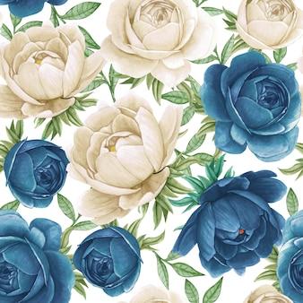 花の水彩画のシームレスパターンエレガントな牡丹青と白
