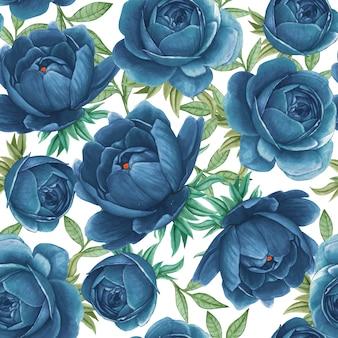 花の水彩画のシームレスパターンエレガントな牡丹ブルー