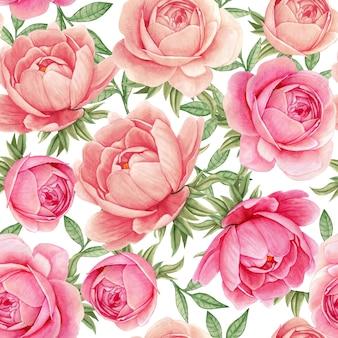 花の水彩画のシームレスパターンエレガントな牡丹ピンクミックス
