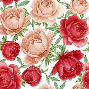 花の水彩画のシームレスパターンエレガントな牡丹赤と古代のバラ