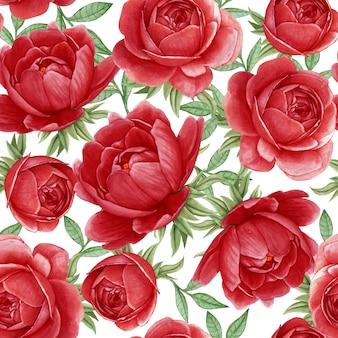 花の水彩画のシームレスパターンエレガントな牡丹赤