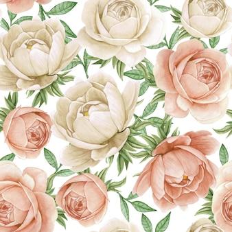花の水彩画のシームレスパターンエレガントな牡丹白とアンティークローズ
