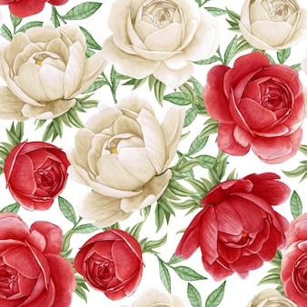 꽃 수채화 원활한 패턴 우아한 모란 흰색과 빨간색