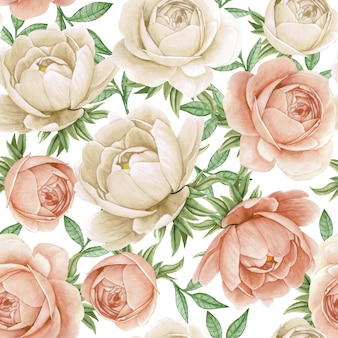 Floral watercolor seamless pattern elegant peonies white and antique rose