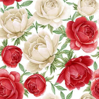 Floral watercolor seamless pattern elegant peonies white and red