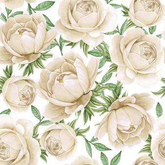 花の水彩画のシームレスパターンエレガントな牡丹白