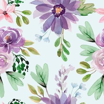 紫の牡丹とバラの花の水彩シームレスパターン