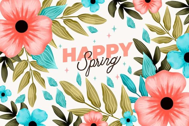 花の水彩画の春の背景