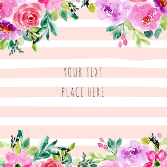 Floral watercolor and stripe background