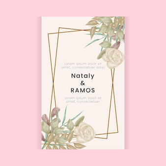 Floral watercolor style wedding card design