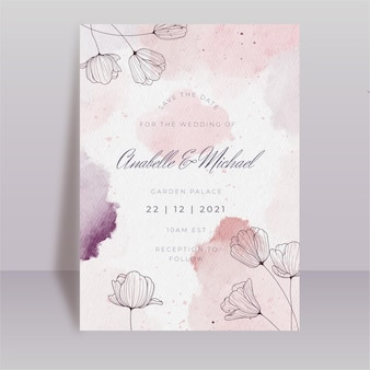 Modello di carta di matrimonio floreale dell'acquerello