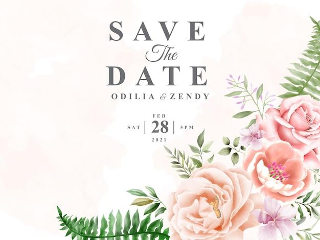 Цветочные акварели свадебные приглашения карты шаблон