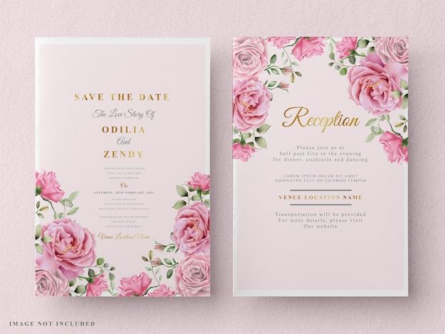 Floral watercolor wedding invitation card template