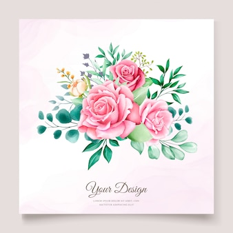 Floral watercolor wedding invitation template