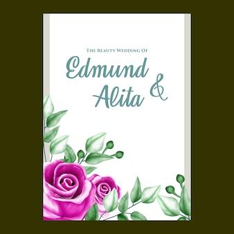Floral watercolor wedding invitation template
