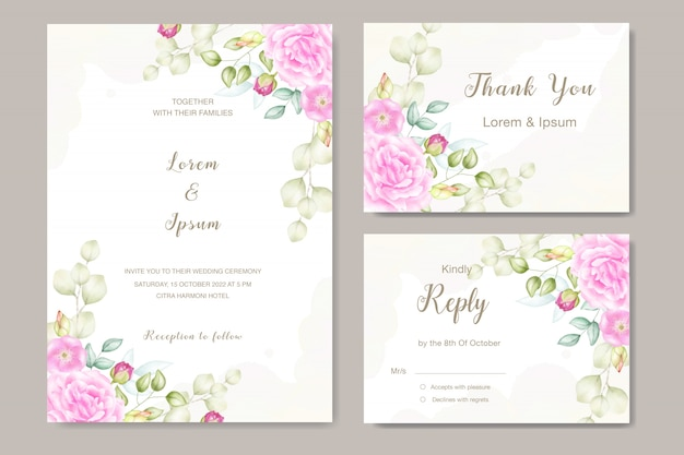 Floral watercolor wedding invitation