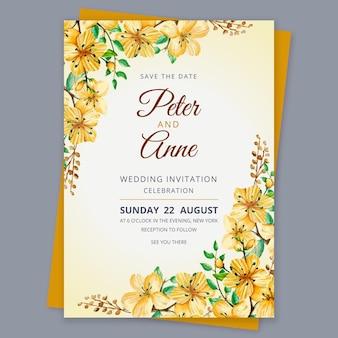 Invito a nozze floreale acquerello Vettore gratuito