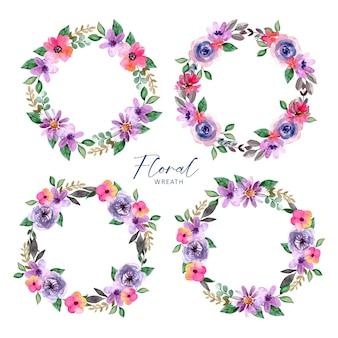 꽃 수채화 화환 보라색과 분홍색 잎