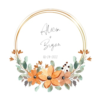 Floral watercolor wreath with golden frame