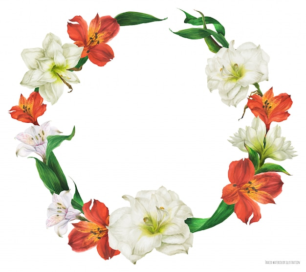Floral watercolor wreath with red and white lily flowers