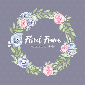 Floral watercolor wreath with roses