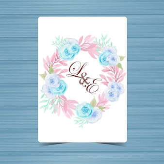 Floral Wedding Badge with Beautiful Blue Roses