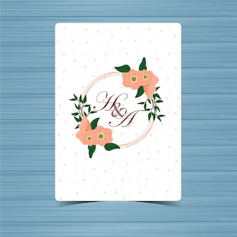Floral wedding badge with beautiful flower
