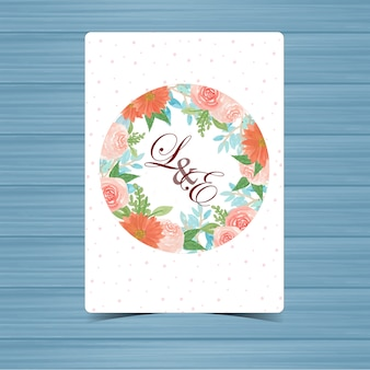 Floral wedding badge with beautiful flowers