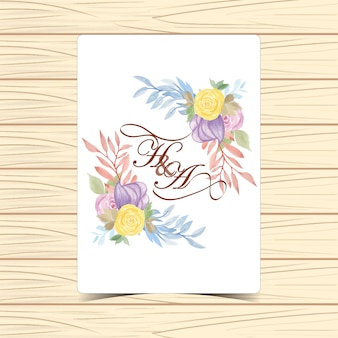 Floral wedding badge with beautiful yellow and purple roses
